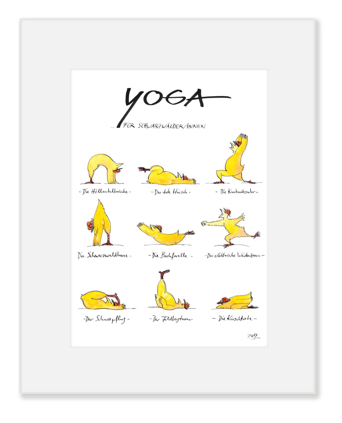 "Gaymann Kollektion Poster im Passepartout ""Yoga für Schwarzwälder"" 24×30 cm"