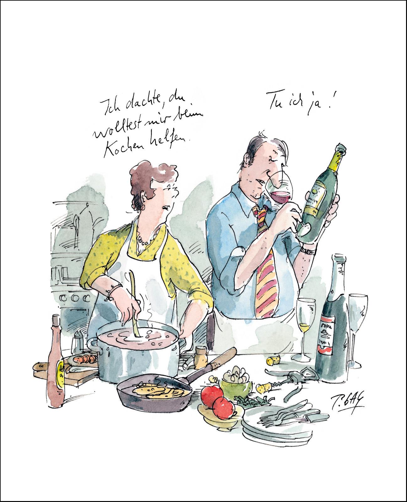 """Gaymann Kollektion Poster """"Ich dachte, du wolltest mir beim Kochen helfen"""" 40×50 cm"""