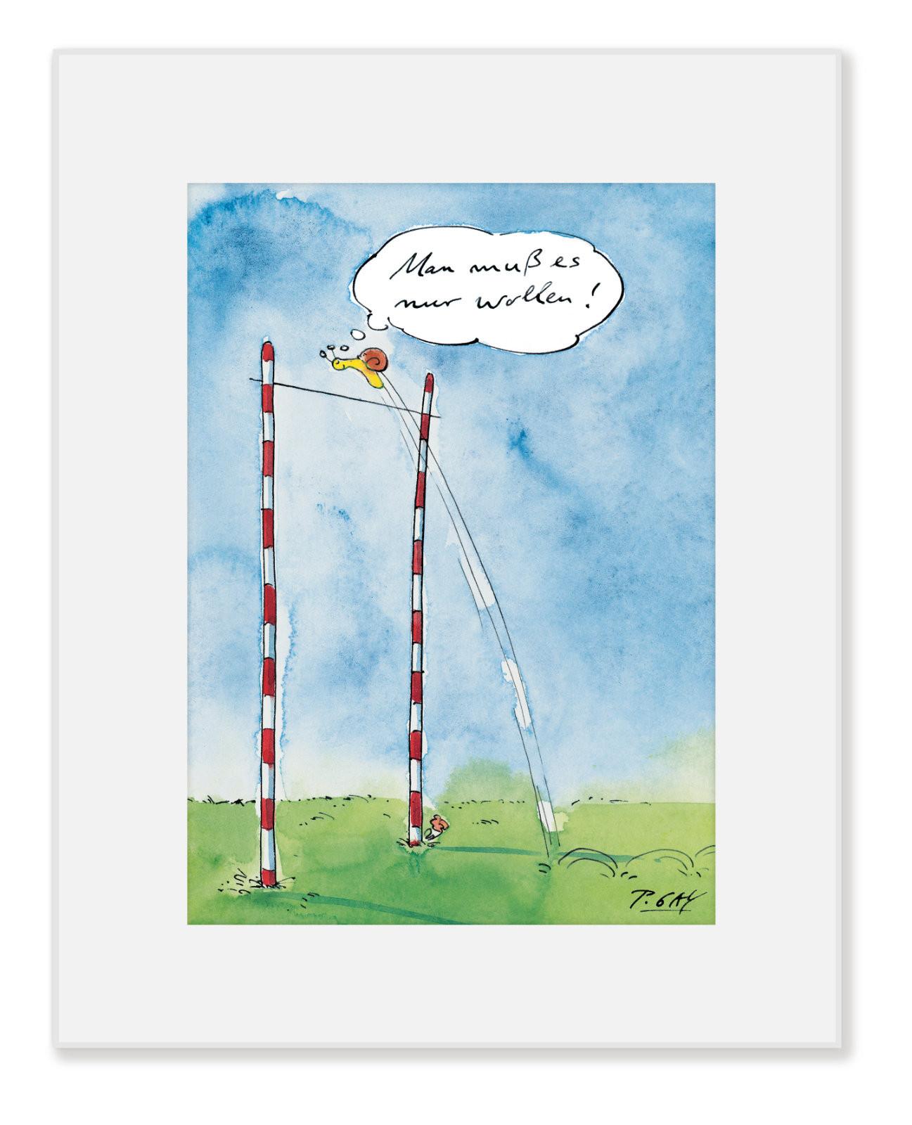 """Gaymann Kollektion Poster im Passepartout """"Schnecke – man muss es nur wollen"""" 24x30cm"""