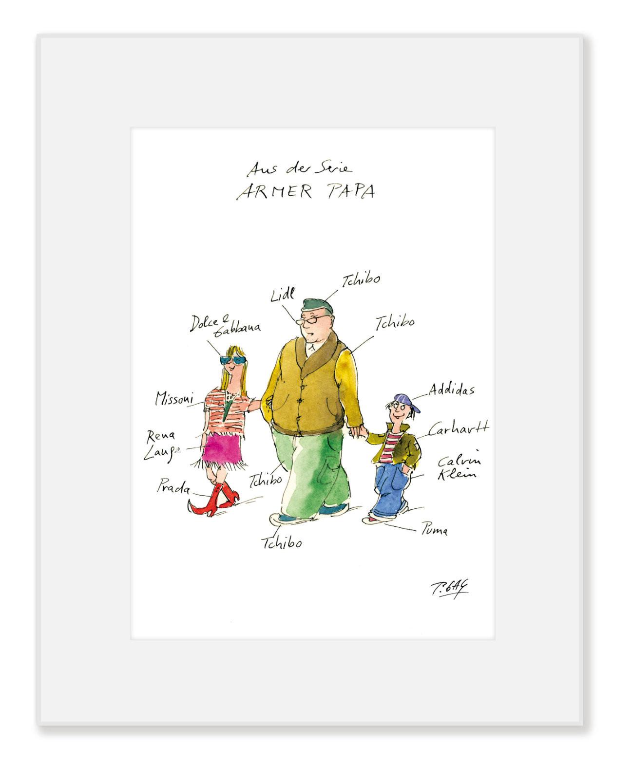 """Gaymann Kollektion Poster im Passepartout """"Armer Papa"""" 24x30cm"""