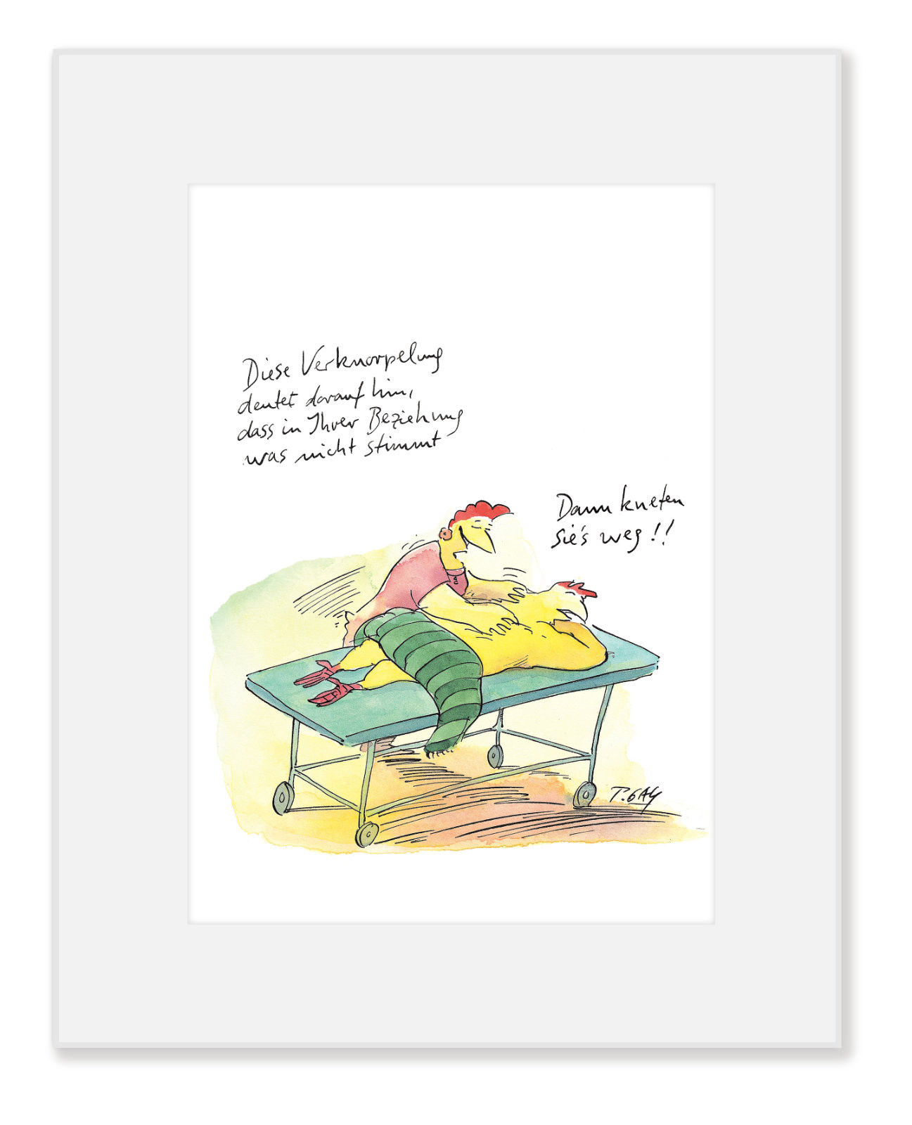 """Gaymann Kollektion Poster im Passepartout """"Kneten Sie es weg"""" 24×30 cm"""