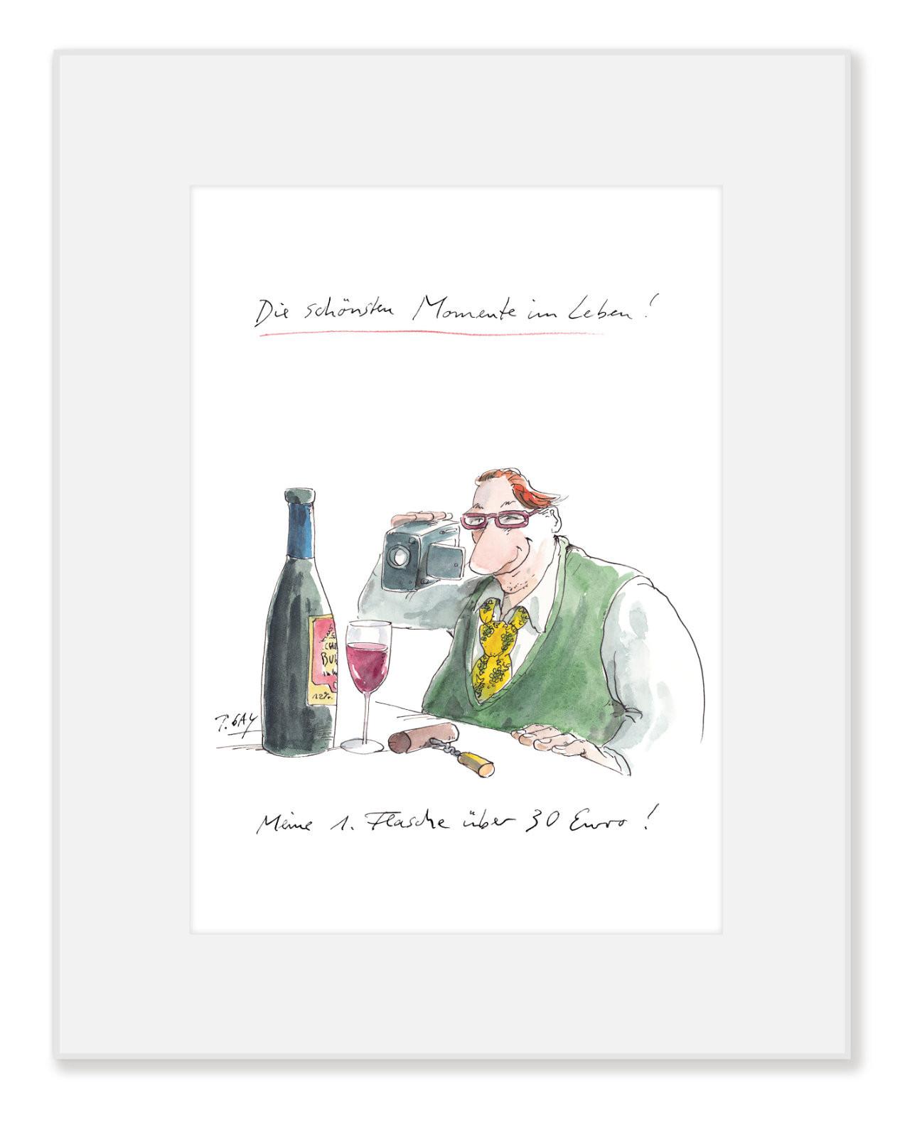 """Gaymann Kollektion Poster im Passepartout """"Meine erste Flasche über…"""" 24×30 cm"""