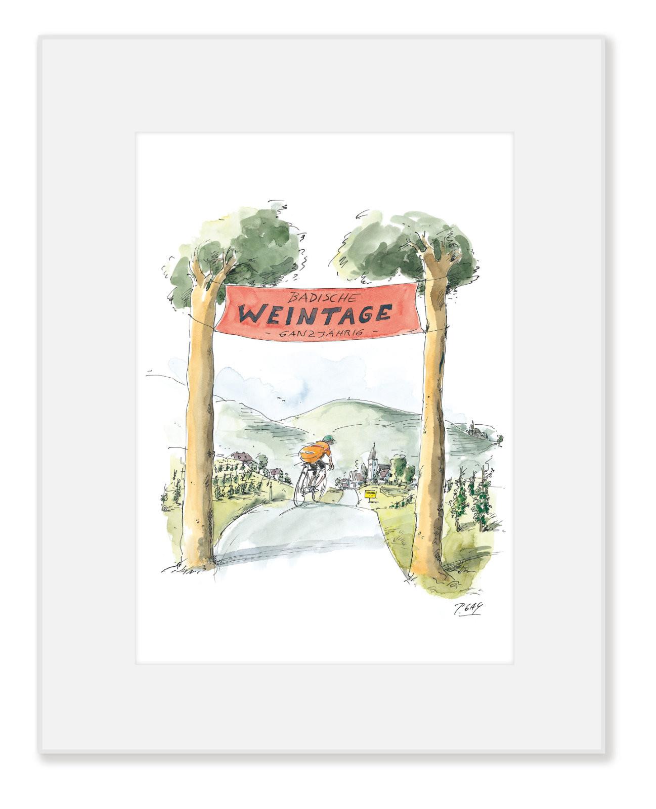 """Gaymann Kollektion Poster im Passepartout """"Badische Weintage"""" 24×30 cm"""