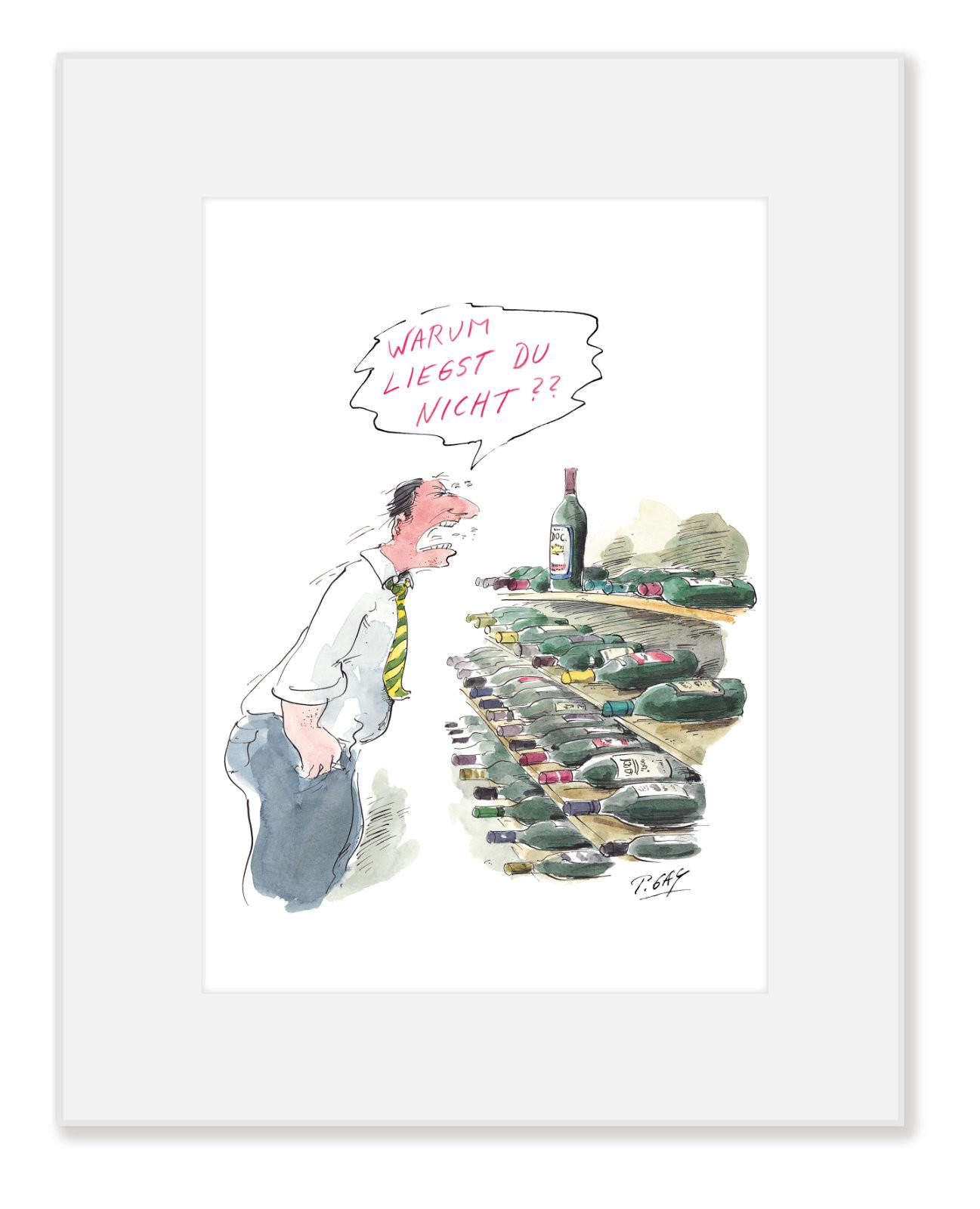 """Gaymann Kollektion Poster im Passepartout """"Warum liegst du nicht?"""" 24×30 cm"""