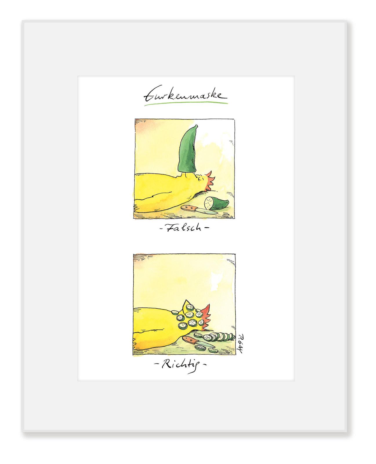 "Gaymann Kollektion Poster im Passepartout ""Gurkenmaske"" 24×30 cm"
