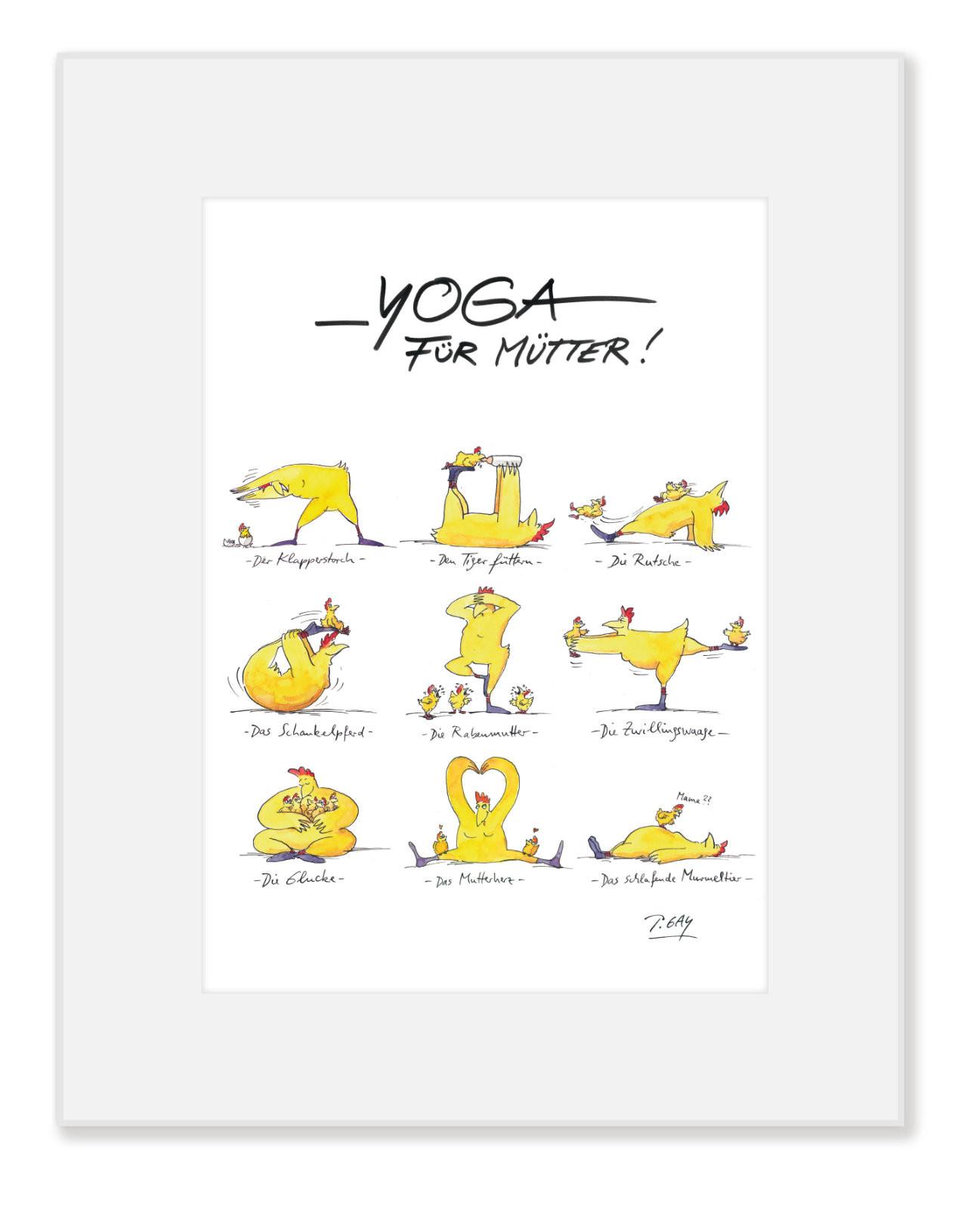 "Gaymann Kollektion Poster im Passepartout ""Yoga für Mütter"" 24×30 cm"