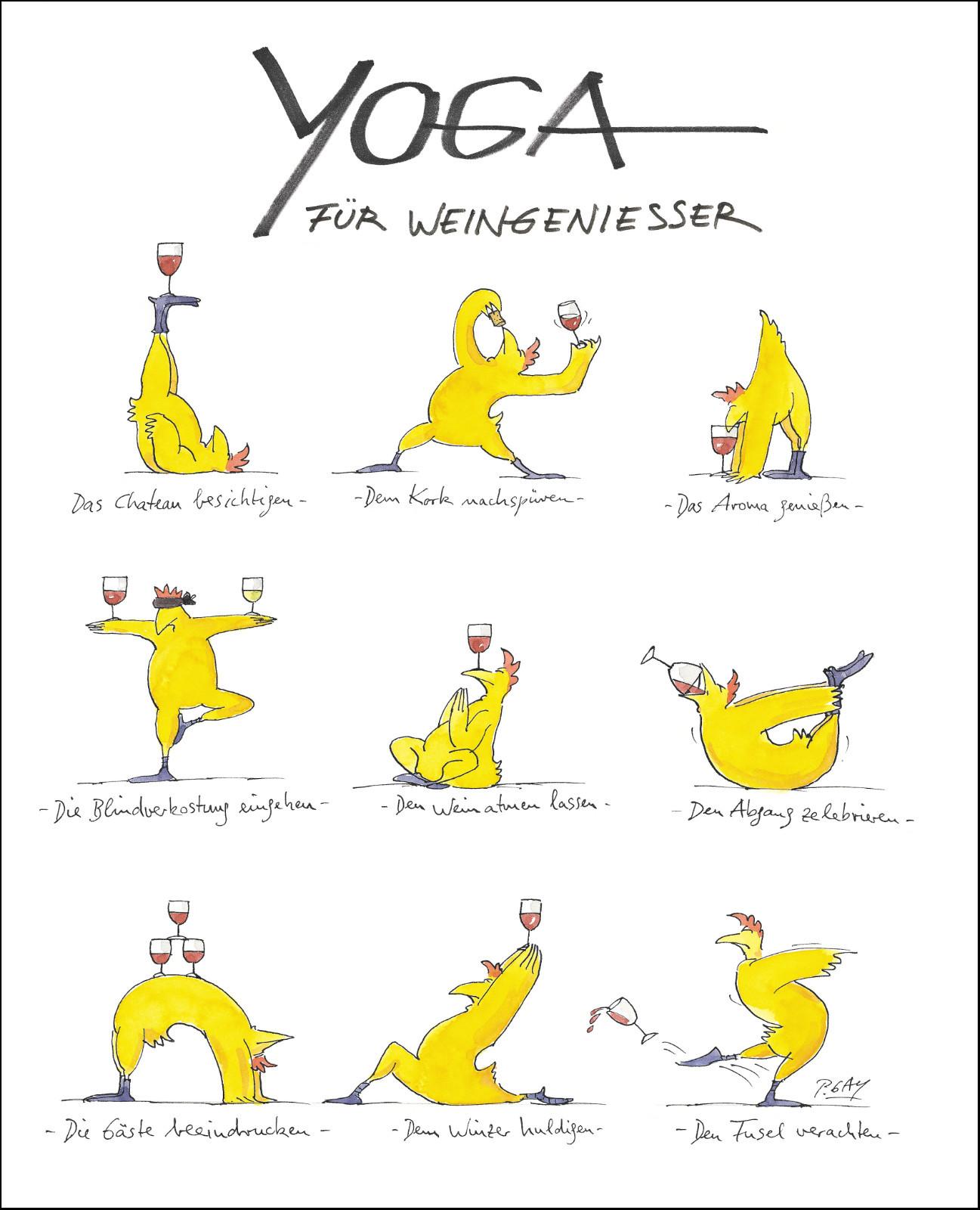 """Gaymann Kollektion Poster """"Yoga für Weingenießer"""", 40x50cm"""