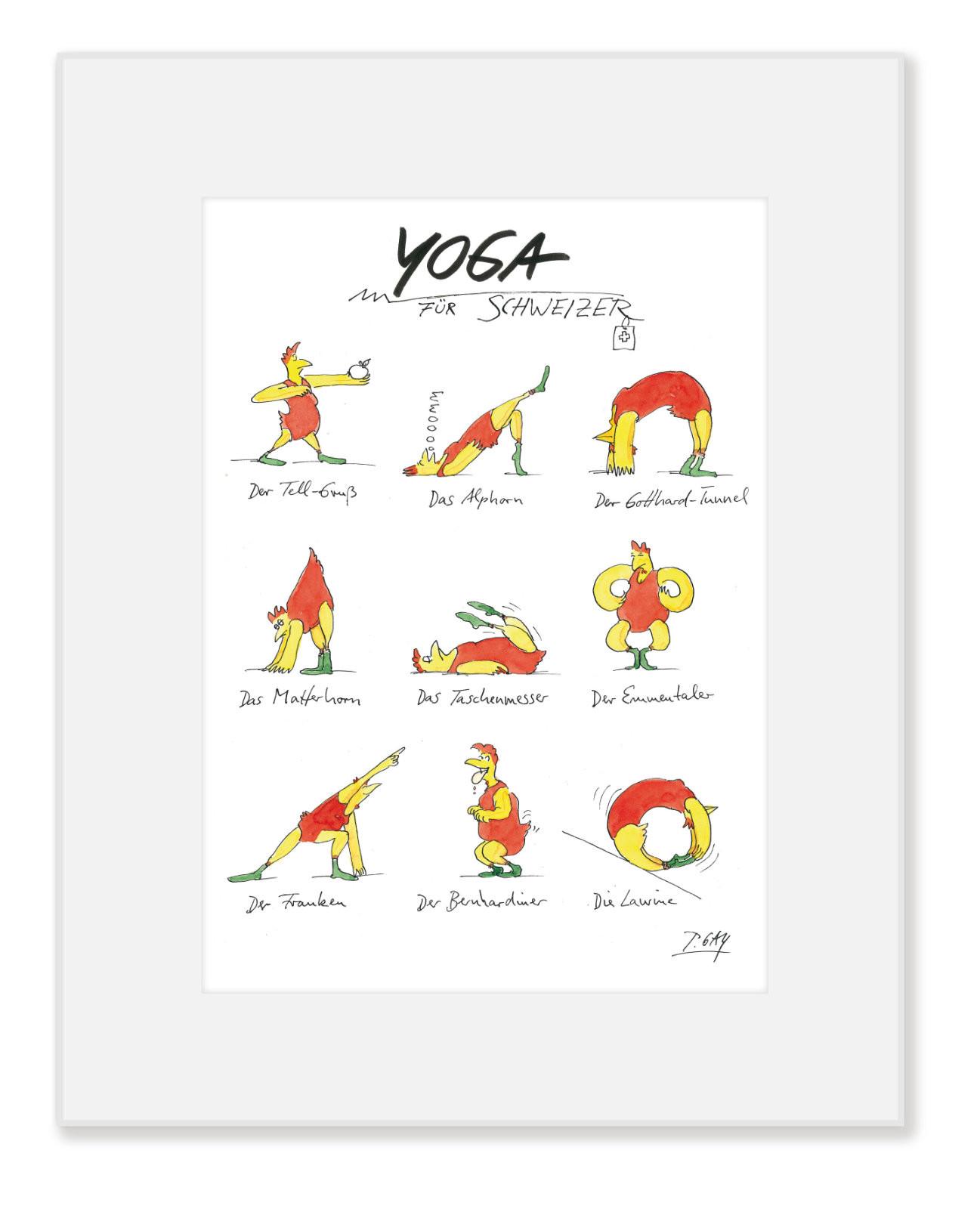 """Gaymann Kollektion, Poster im Passepartout """"Yoga für Schweizer"""" im Passepartout, 24x30cm"""