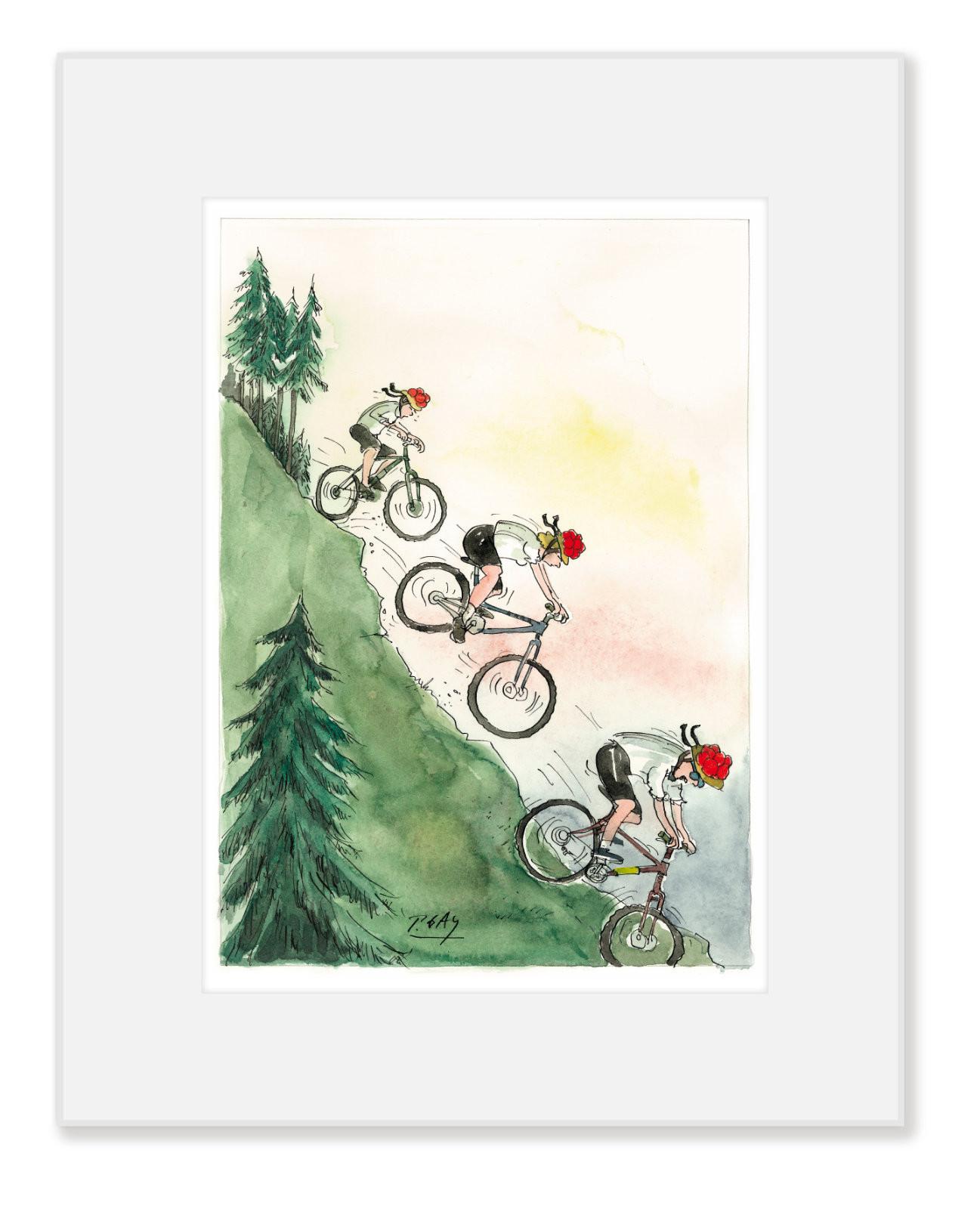 "Gaymann Kollektion Poster im Passepartout ""Radfahrer"", 24x30cm"