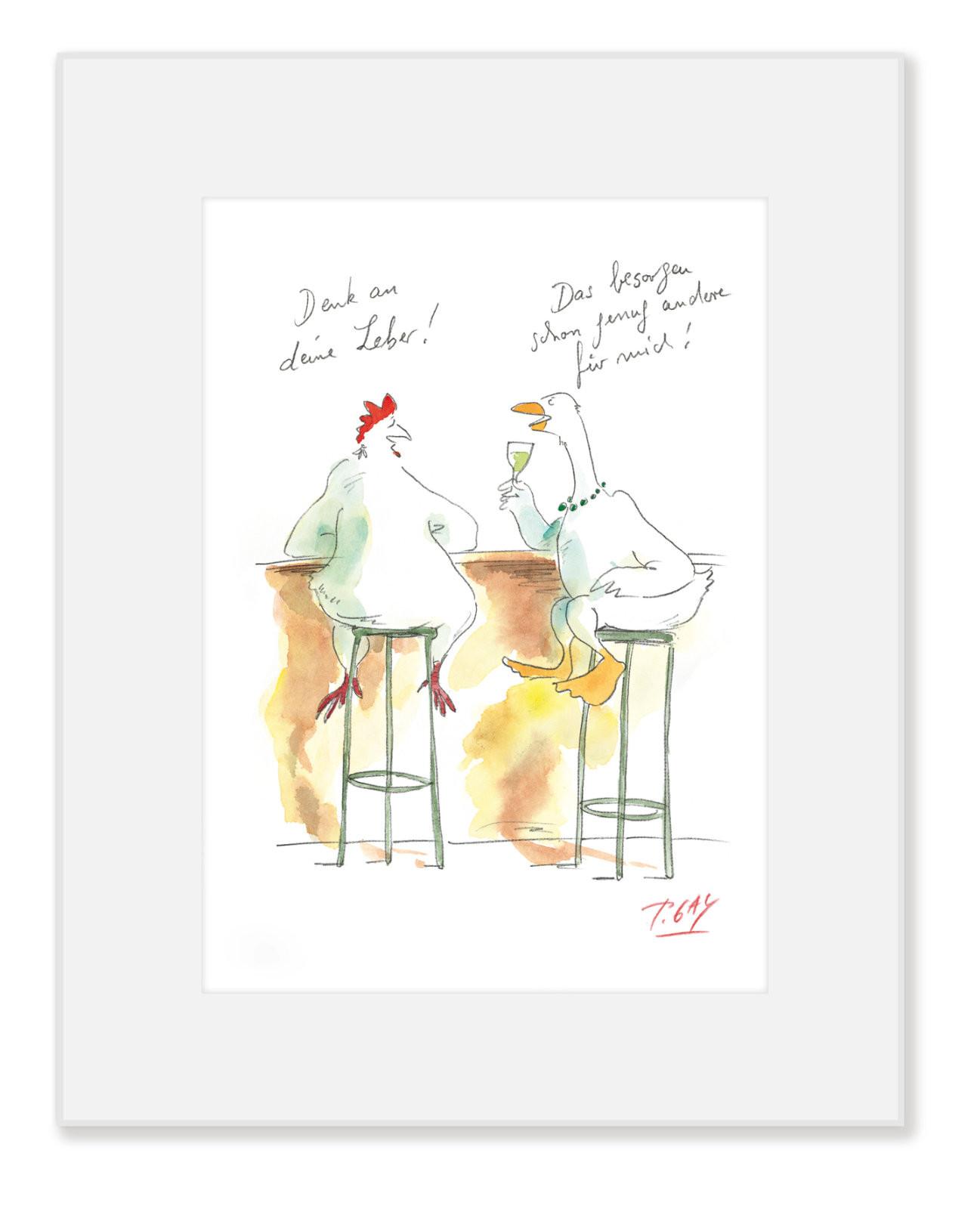 """Gaymann Kollektion Poster im Passepartout """"Denk an deine Leber"""", 24x30cm"""