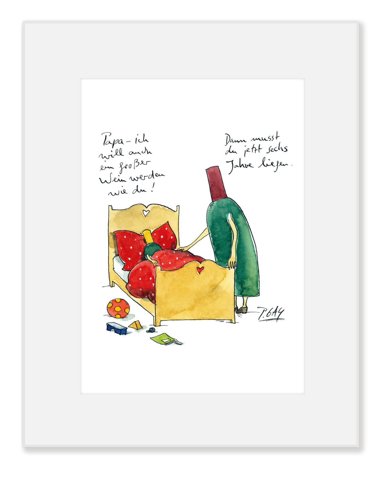 """Gaymann Kollektion Poster im Passepartout """"ein großer Wein"""", 24x30cm"""