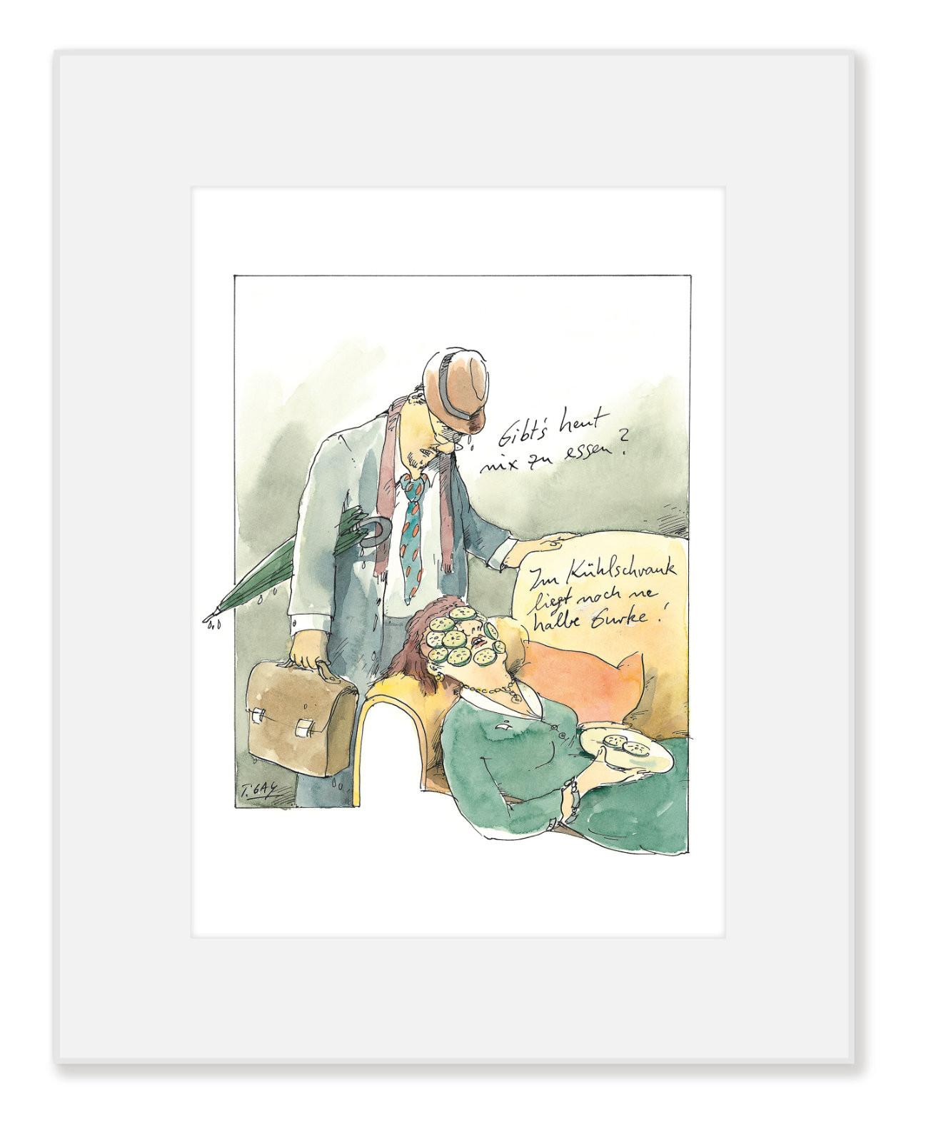 "Gaymann Kollektion Poster im Passepartout ""Halbe Gurke"", 24×30 cm"