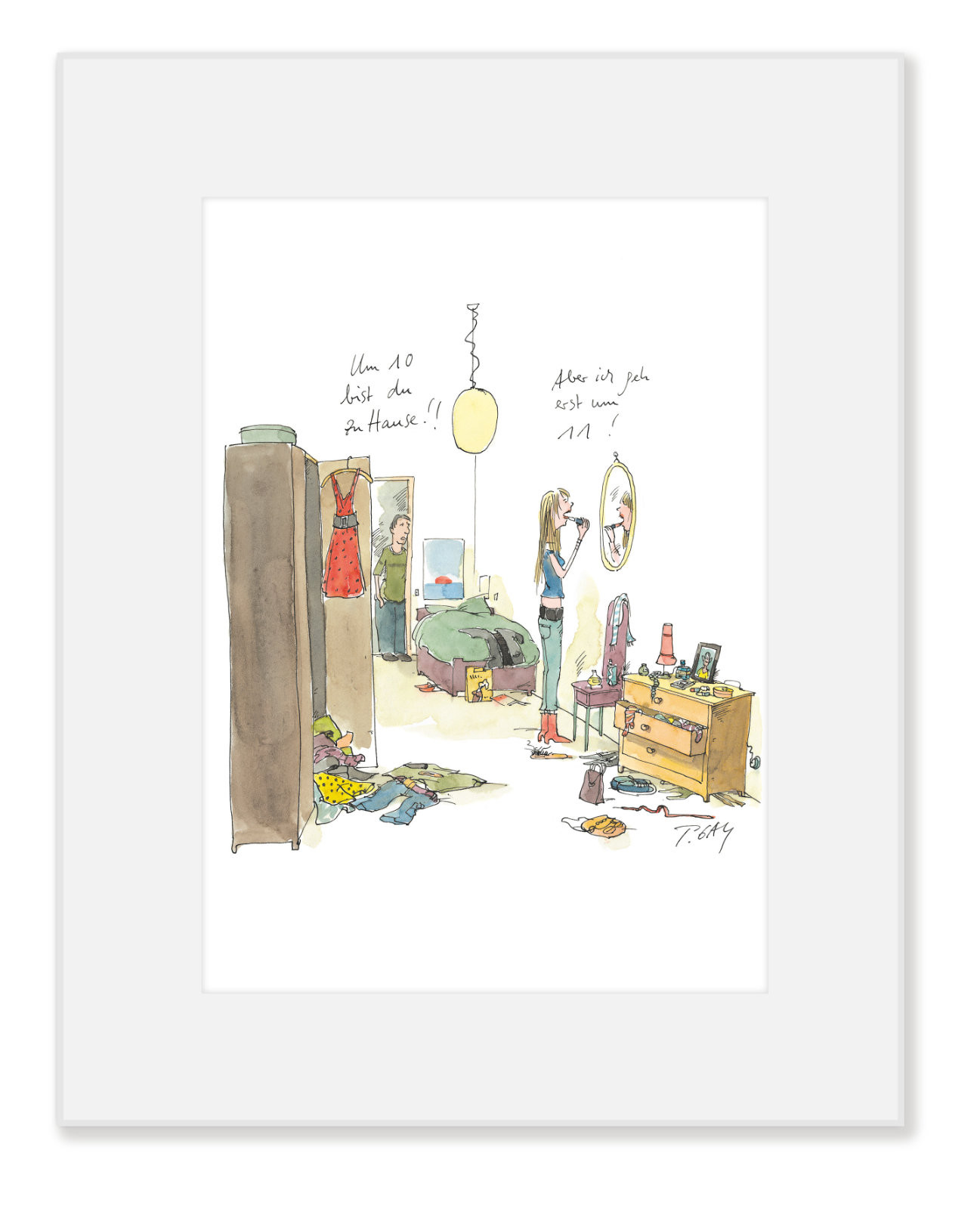 "Gaymann Kollektion Poster im Passepartout ""Um 10 Uhr zuhause"", 24x30cm"