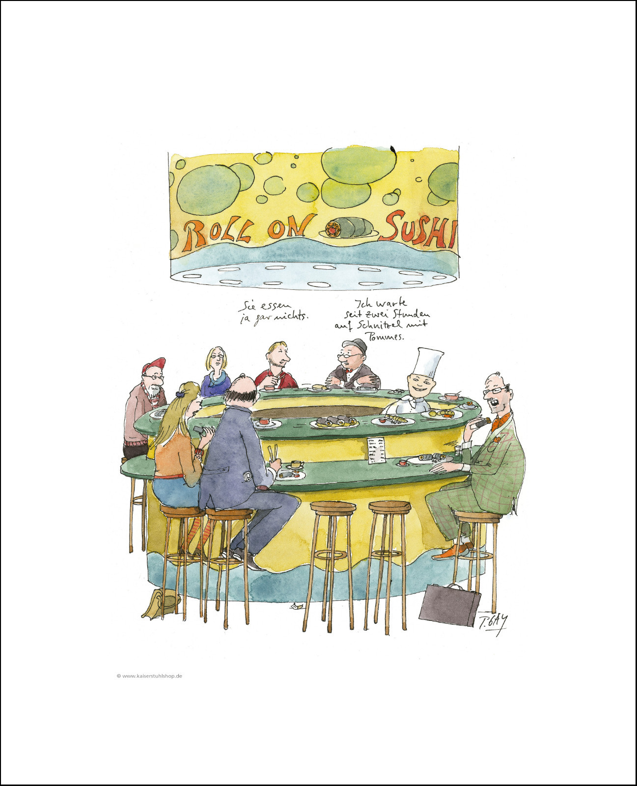 "Gaymann Kollektion, ""Sushi"" im Passepartout, 30x40cm"